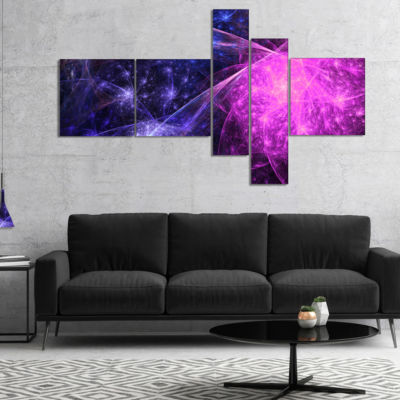 Designart Purple Pink Colorful Fireworks Multipanel Abstract Art On Canvas - 4 Panels