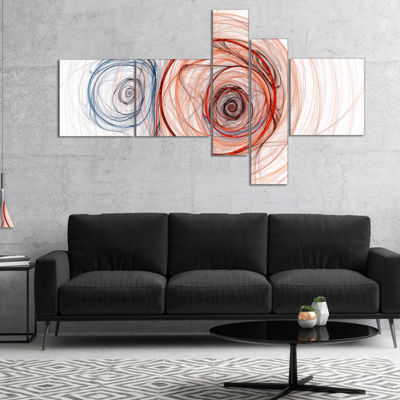 Designart Brown Blue Fractal Illustration Multipanel Abstract Canvas Art Print - 5 Panels