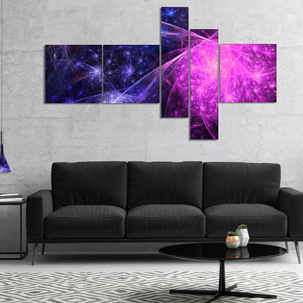 Designart Purple Pink Colorful Fireworks Multipanel Abstract Art On Canvas - 5 Panels