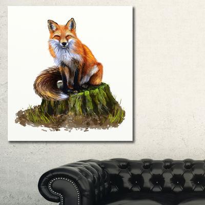 Designart The Clever Fox Illustration Animal ArtOnCanvas - 3 Panels