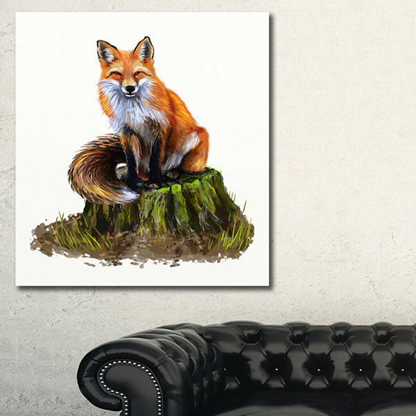 Designart The Clever Fox Illustration Animal ArtOnCanvas - 3 Panels