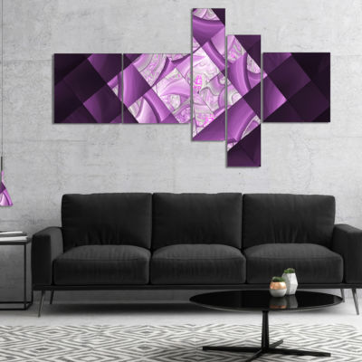 Design Art Purple Pixel Field Of Squares MultipanelAbstract Wall Art Canvas - 4 Panels