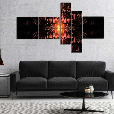 Designart Brown Butterfly Pattern On Black Multipanel Abstract Art On Canvas - 5 Panels