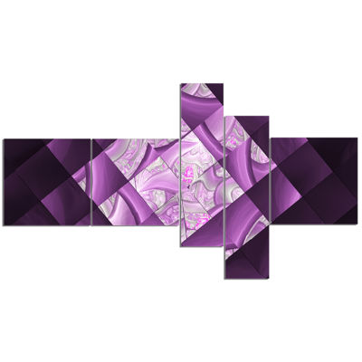 Designart Purple Pixel Field Of Squares MultipanelAbstract Wall Art Canvas - 5 Panels
