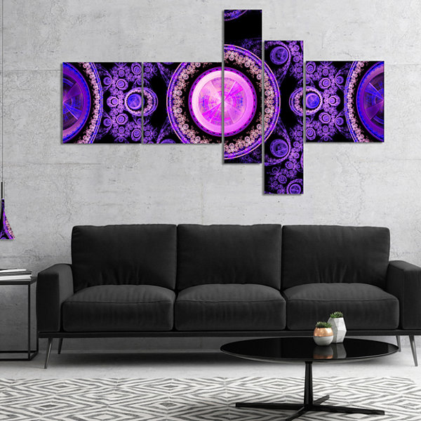 Designart Purple Psychedelic Relaxing Art Multipanel Abstract Canvas Art Print - 4 Panels