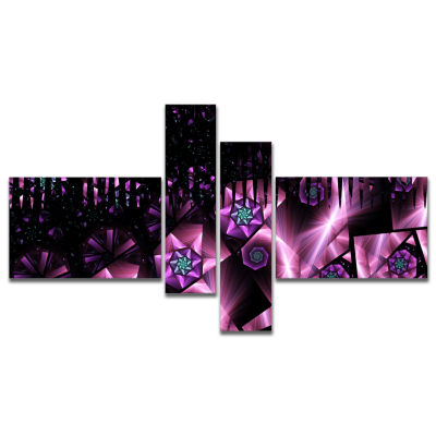 Designart Purple Radiance Of Starry Sky MultipanelAbstract Wall Art Canvas - 4 Panels