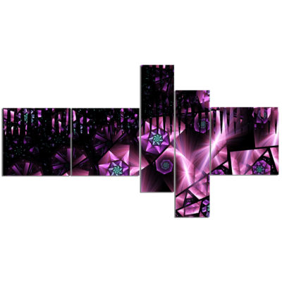 Designart Purple Radiance Of Starry Sky MultipanelAbstract Wall Art Canvas - 5 Panels