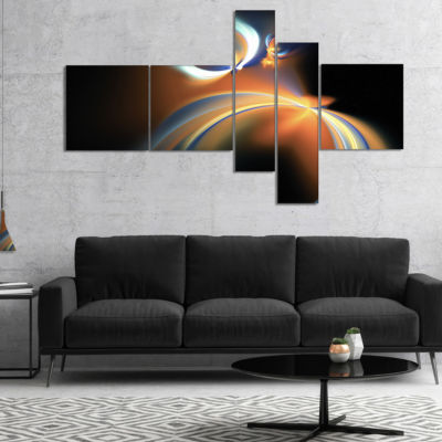 Designart Brown Floating Fractal Designs Multipanel Abstract Art On Canvas - 5 Panels