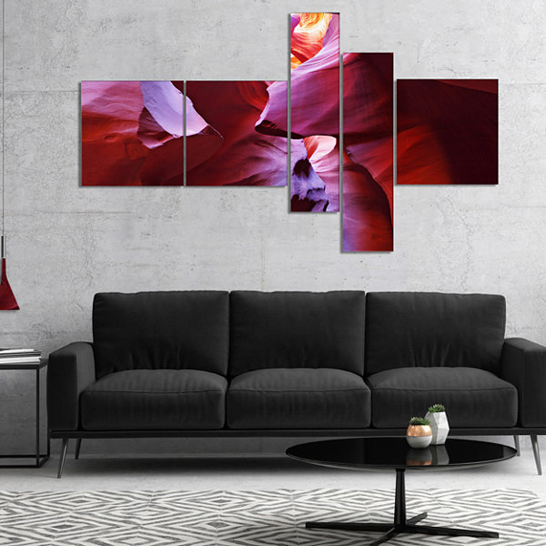 Designart Purple Rays In Antelope Canyon Multipanel Landscape Photography Canvas Print - 5 Panels
