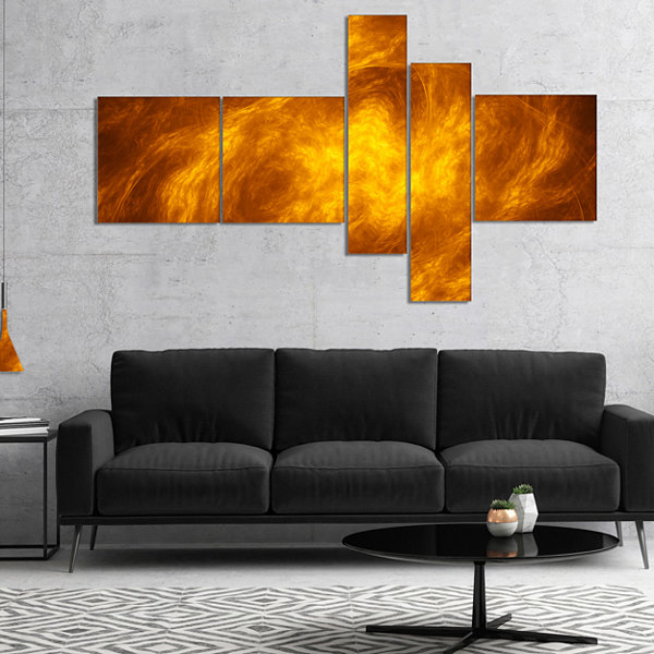 Designart Brown Fractal Abstract Pattern Multipanel Abstract Art On Canvas - 4 Panels