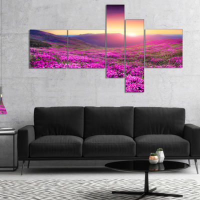 Designart Purple Rhododendron Flowers In MountainsMultipanel Large Landscape Canvas Art Print - 4 Panels