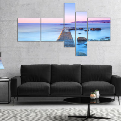 Designart Purple Sea And Sky Multipanel Seascape Canvas Art Print - 4 Panels