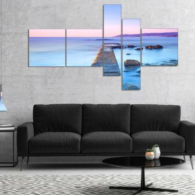 Designart Purple Sea And Sky Multipanel Seascape Canvas Art Print - 5 Panels