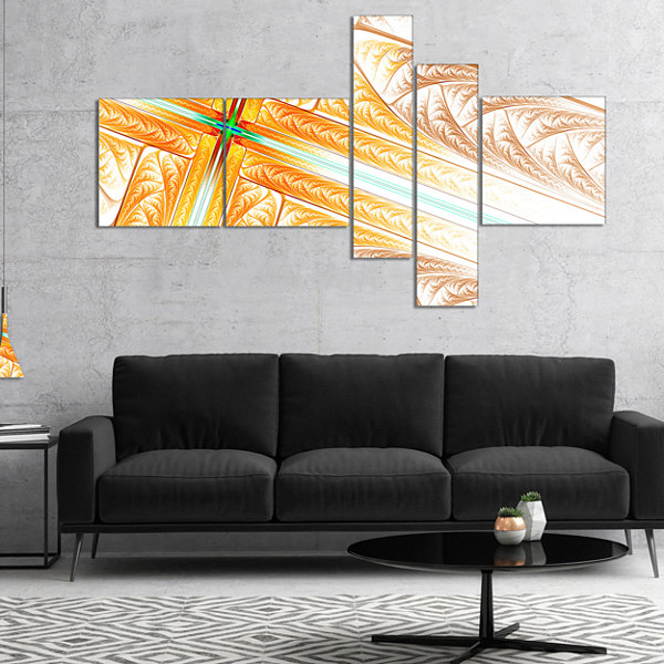 Designart Brown Fractal Cross Design Multipanel Abstract Art On Canvas - 5 Panels