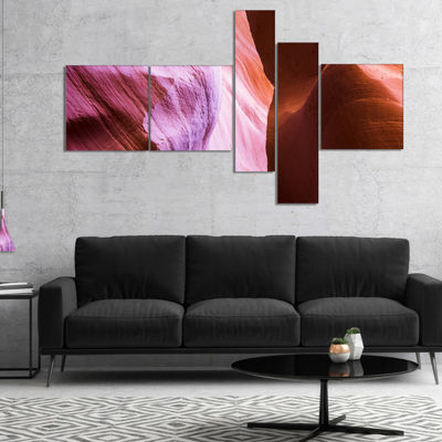 Designart Purple Shade In Antelope Canyon Multipanel Landscape Photography Canvas Print - 5 Panels