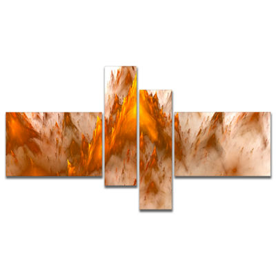 Designart Brown Fractal Crystals Design MultipanelAbstract Canvas Art Print - 4 Panels