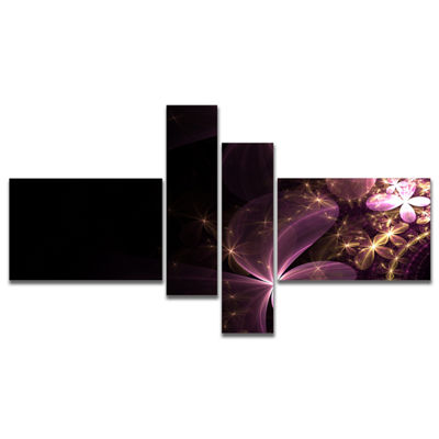 Designart Purple Shiny Fractal Flowers MultipanelAbstract Wall Art Canvas - 4 Panels