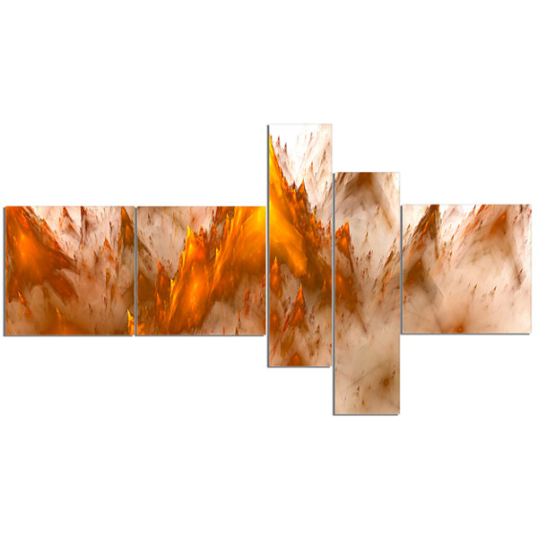 Designart Brown Fractal Crystals Design MultipanelAbstract Canvas Art Print - 5 Panels