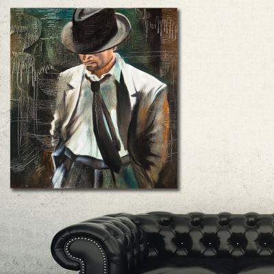 Designart The Gentleman Portrait Canvas Art Print-3 Panels