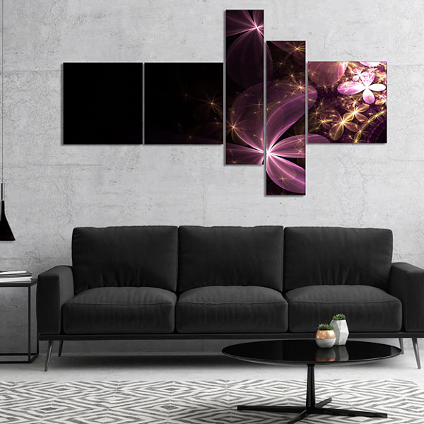 Designart Purple Shiny Fractal Flowers MultipanelAbstract Wall Art Canvas - 5 Panels