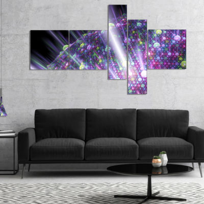 Designart Purple Solar Bubbles Planet Multipanel Abstract Canvas Art Print - 5 Panels