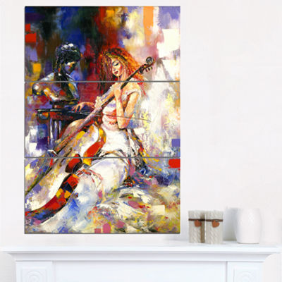 Designart The Guitarists Music Canvas Art Print -3Panels