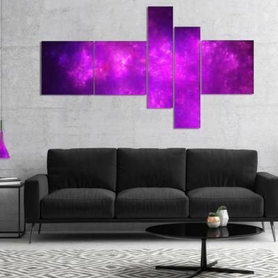 Designart Purple Starry Fractal Sky Multipanel Abstract Canvas Art Print - 5 Panels