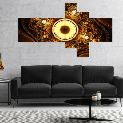 Designart Brown Fractal Pattern With Circles Multipanel Abstract Canvas Art Print - 5 Panels