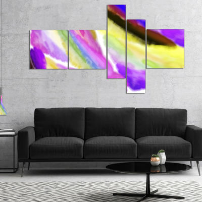 Designart Purple Vibrant Brushstrokes Multipanel Abstract Canvas Art Print - 4 Panels