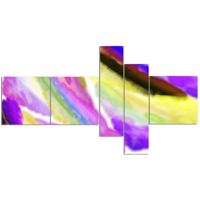 Designart Purple Vibrant Brushstrokes Multipanel Abstract Canvas Art Print - 5 Panels
