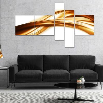 Designart Brown Gold Texture Pattern Multipanel Abstract Canvas Art Print - 5 Panels