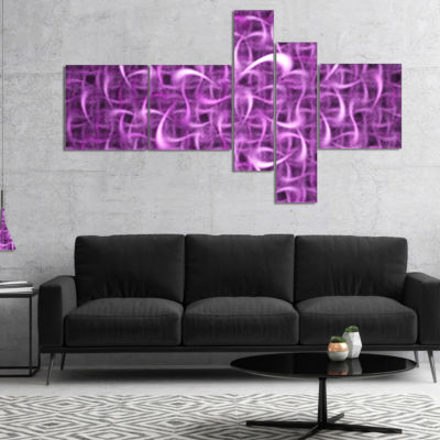 Designart Purple Watercolor Fractal Pattern Multipanel Abstract Art On Canvas - 4 Panels