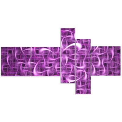 Designart Purple Watercolor Fractal Pattern Multipanel Abstract Art On Canvas - 5 Panels