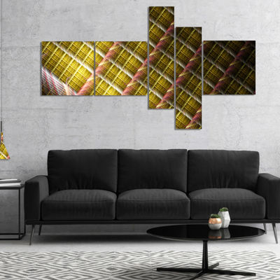 Designart Brown Metal Protective Grids MultipanelAbstract Wall Art Canvas - 5 Panels