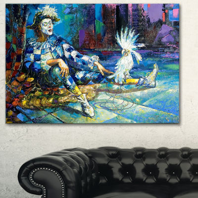Designart The Harlequin And White Parrot Contemporary Canvas Art Print - 3 Panels