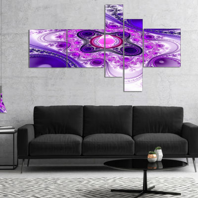 Designart Purple Wavy Curves And Circles Multipanel Abstract Canvas Art Print - 4 Panels