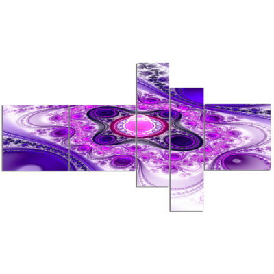 Designart Purple Wavy Curves And Circles Multipanel Abstract Canvas Art Print - 5 Panels