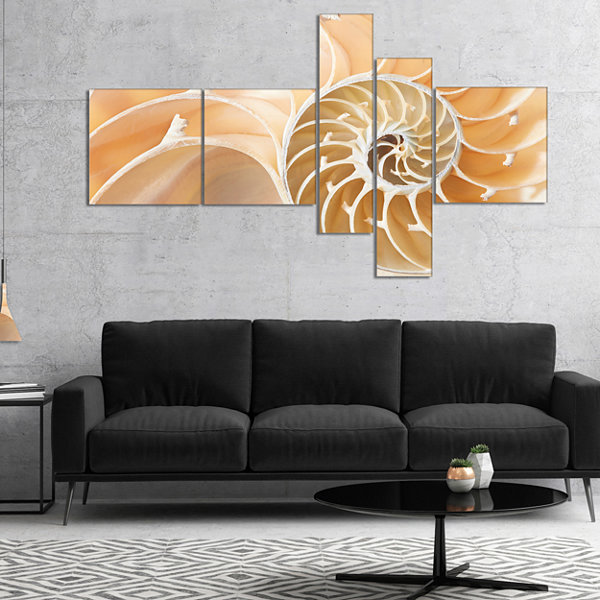 Designart Brown Nautilus Shell Pattern MultipanelAbstract Canvas Art Print - 5 Panels