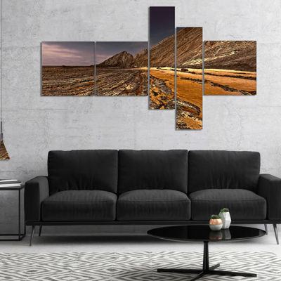 Designart Brown Rocky Coast Portugal Multipanel Cityscape Canvas Print - 4 Panels