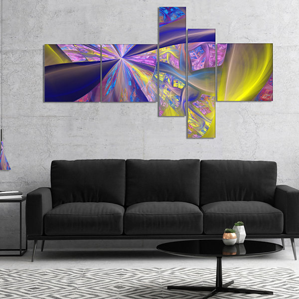 Designart Purple Yellow Fractal Curves MultipanelAbstract Canvas Art Print - 5 Panels