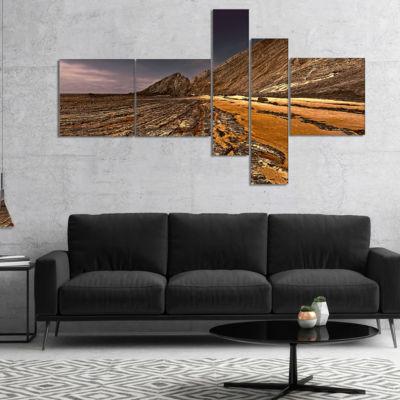 Designart Brown Rocky Coast Portugal Multipanel Cityscape Canvas Print - 5 Panels