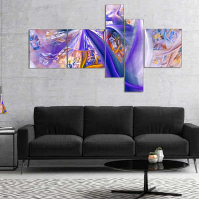 Designart Purple Yellow Fractal Curves MultipanelAbstract Wall Art - 5 Panels