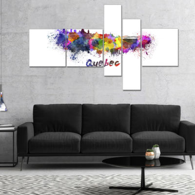 Designart Quebec Skyline Multipanel Cityscape Canvas Artwork Print - 4 Panels