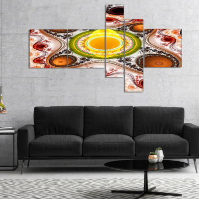 Designart Brown Wavy Curves And Circles MultipanelAbstract Canvas Art Print - 5 Panels