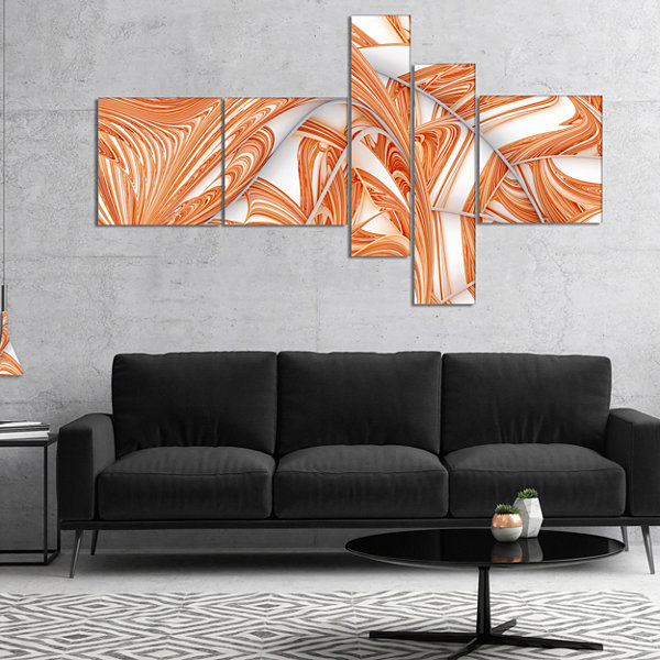 Designart Brown Winter Fractal Pattern MultipanelAbstract Art On Canvas - 4 Panels