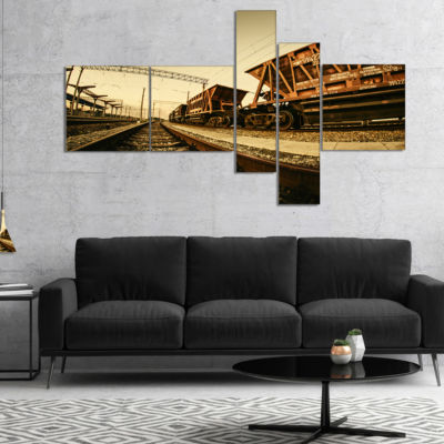 Designart Railway Tracks In Ukraine Multipanel Landscape Photo Canvas Art Print - 4 Panels