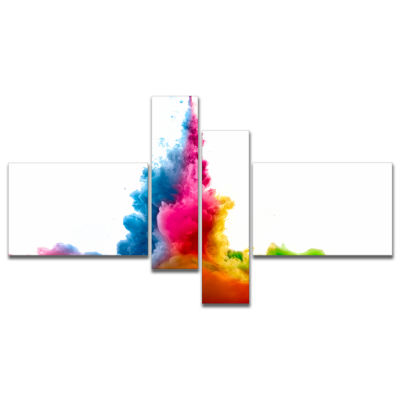 Design Art Rainbow Colors Explosion Multipanel Abstract Watercolor Canvas Print - 4 Panels