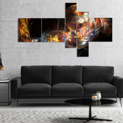 Designart Bubble Smoke Golden Multipanel AbstractCanvaS Art Print - 5 Panels
