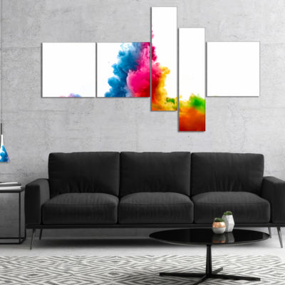 Designart Rainbow Colors Explosion Multipanel Abstract Watercolor Canvas Print - 5 Panels