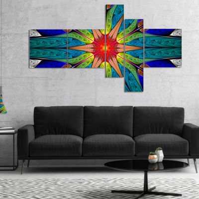 Designart Budding Fractal Colorful Flower Multipanel Abstract Canvas Art Print - 4 Panels
